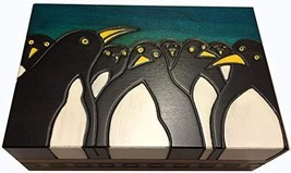MilmaArtGift Handmade Wood Penguins Decorative Box Kids Keepsake Box Made in Pol - $32.89