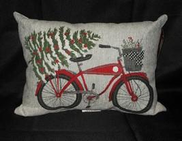 St Nicholas Christmas Tapestry Vintage Bike Tree Throw Pillow Nwt Free Shipping - $34.64