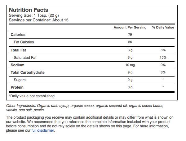 Keto snacks: Date Lady Organic low carb Chocolate Spread 10.2 oz jar (9 carbs)