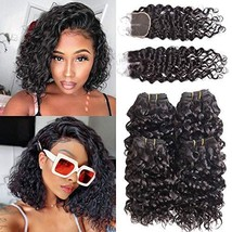 Luxnovolex Bundles with Closure Water Wave 10 inch Wet and Wavy Curly Brazilian