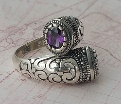 Authentic Turkish Solid 925 Sterling Silver Womens Ring  Amethyst Gemstone - $31.89