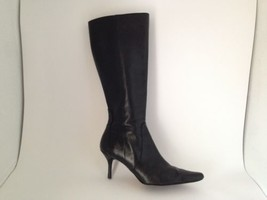Closeout - Anne Klein Black Leather Dress Boots Shoe 6.5 - $28.89