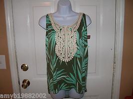 Merona Green Print Fashion Tank Top Size XL Women's NEW - $17.60