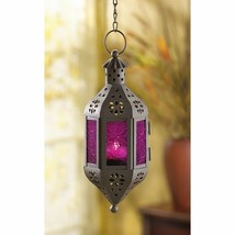 Hanging Candle Lantern Mystical Moroccan Style  w/ Purple Pressed Glass  - $18.76