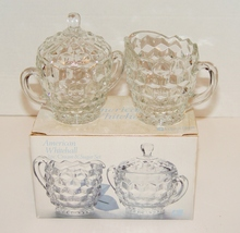 Indiana Glass American Whitehall Clear Glass Creamer & Sugar Bowl W Lid MIB - $7.99