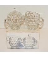 Indiana Glass American Whitehall Clear Glass Creamer & Sugar Bowl W Lid MIB - $7.99