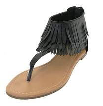 Womens Fringe Thong Gladiator Sandals Back Zipper Black NEW Size 6 -11 - $19.99