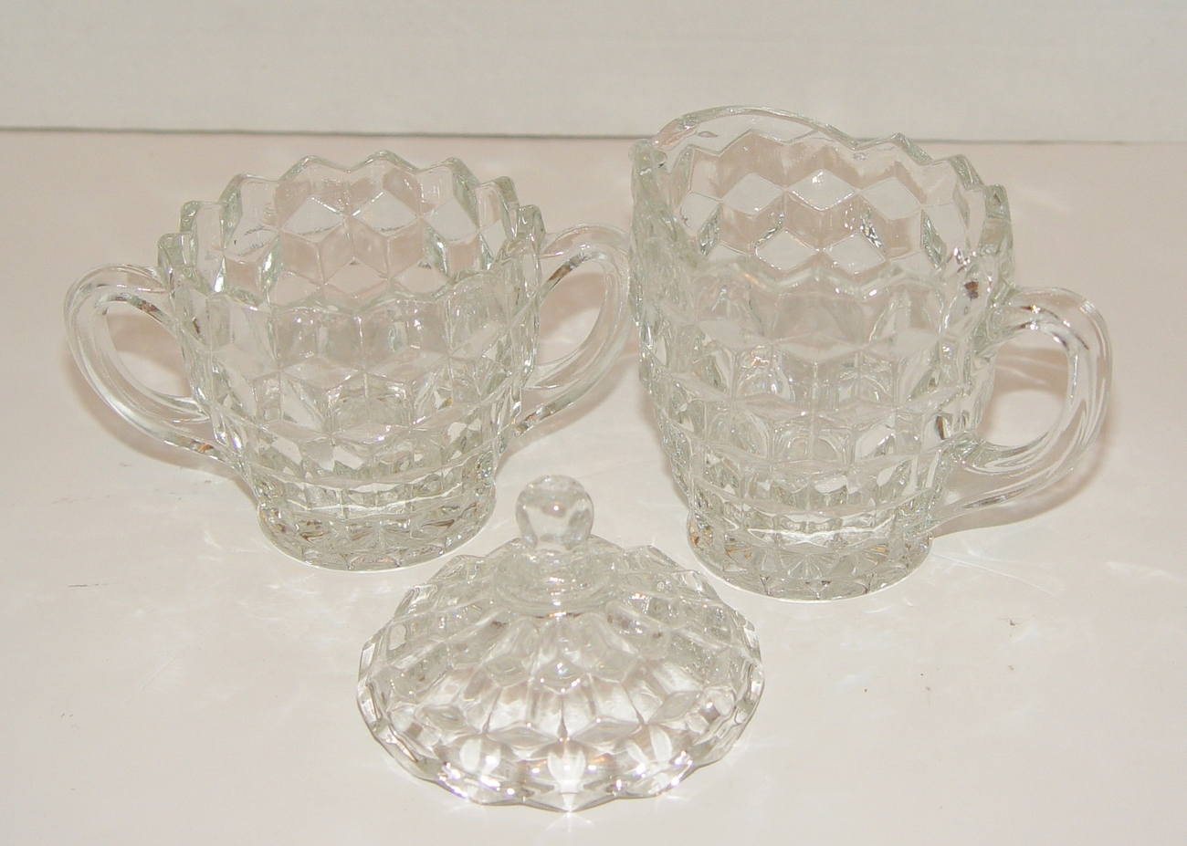 Indiana Glass American Whitehall Clear Glass Creamer & Sugar Bowl W Lid MIB