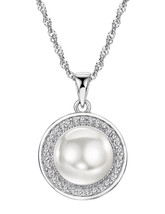 Pearl Necklace Sterling Silver Pendant Cubic Zirconia Jewelry for Women - $59.02