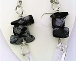 Snowflake obsidian gemstone chip crystal silver earring thumb155 crop