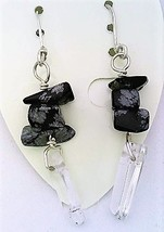 Snowflake Obsidian Gemstone Nuggets And Crystal Silver Wire Earrings - $13.39