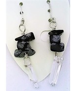 Snowflake obsidian gemstone chip crystal silver earring thumbtall