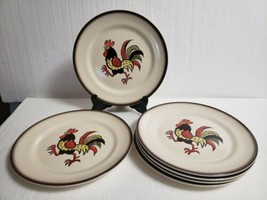 "MCM METLOX Poppytrail California Pottery RED ROOSTER 10"" Dinner Plates -... - $81.18"