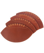 Leather Football Drink Coasters Brown Set of Four USA Made - $129.50