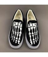 Wen Skull Original Design Hand Painted Shoes Women Men Slip On Black Sne... - $69.00