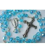 Catholic Rosary AQUAMARINE BLUE Aurora Borealis 6mm Glass beads Miraculo... - $18.69