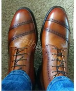 Men's Handmade Unique Cognac Leather Ankle High Dress Boots Custom Made ... - $179.99+