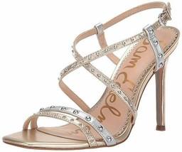 "New in Box SAM EDELMAN Gold Silver Lennox Sandals Open Toe 4.5"" Heels US 9.5 - $59.99"