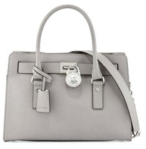 Michael Kors Hamilton Cement Grey Saffiano Leather Satchel Bag Pursenwt - $199.99