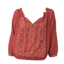 American Eagle Outfitters Womens Red Embroidered 3/4 Sleeve Boho Casual ... - $10.89