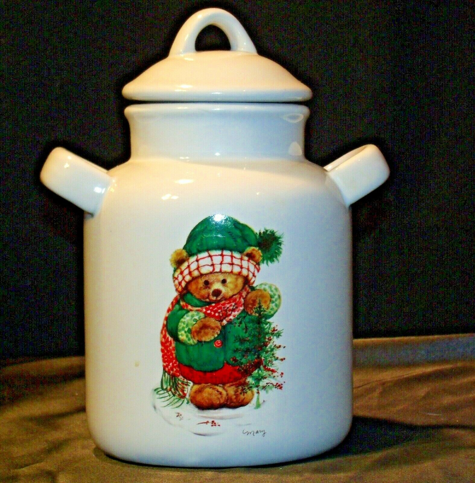 Christmas Double Handle Ceramic Cookie Jar w Lid Item # 252 1P1 AA-191963  Colle