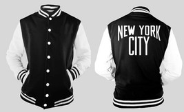 New York City Varsity Collage Baseball BLACK/WHITE Fleece Jacket - $29.69