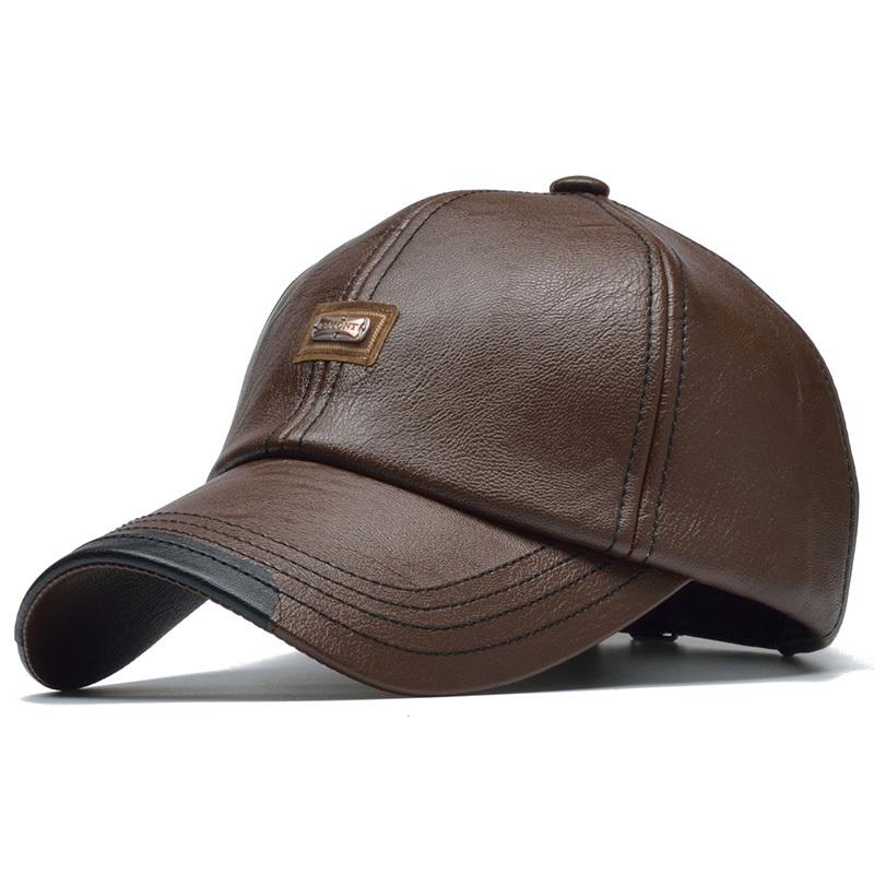 1f1528df33d ... High Quality Winter Leather Baseball Caps Men Gorras Planas Snapback Cap  Bone ...