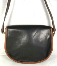 Tusting Vintage Black Leather Brown Trim Crossbody Shoulder Bag- Made in... - $44.61