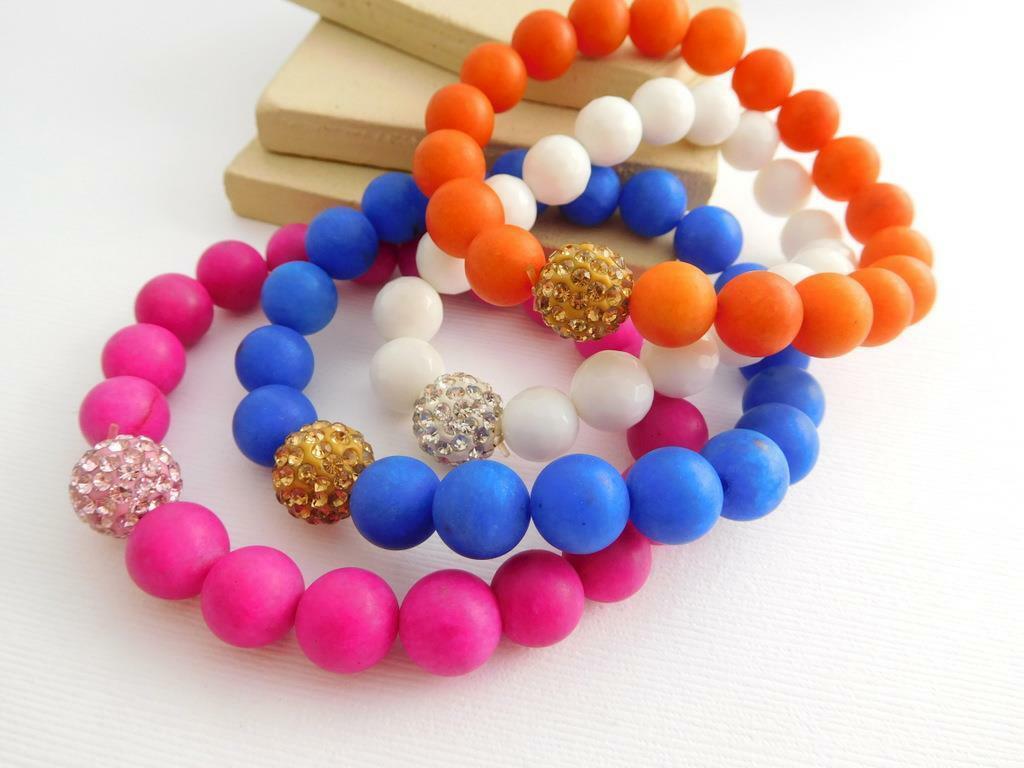 Set 4 Retro Pink Blue White Orange Glass Crystal Bead Stretch Bracelets GG43