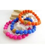 Set 4 Retro Pink Blue White Orange Glass Crystal Bead Stretch Bracelets ... - $16.99
