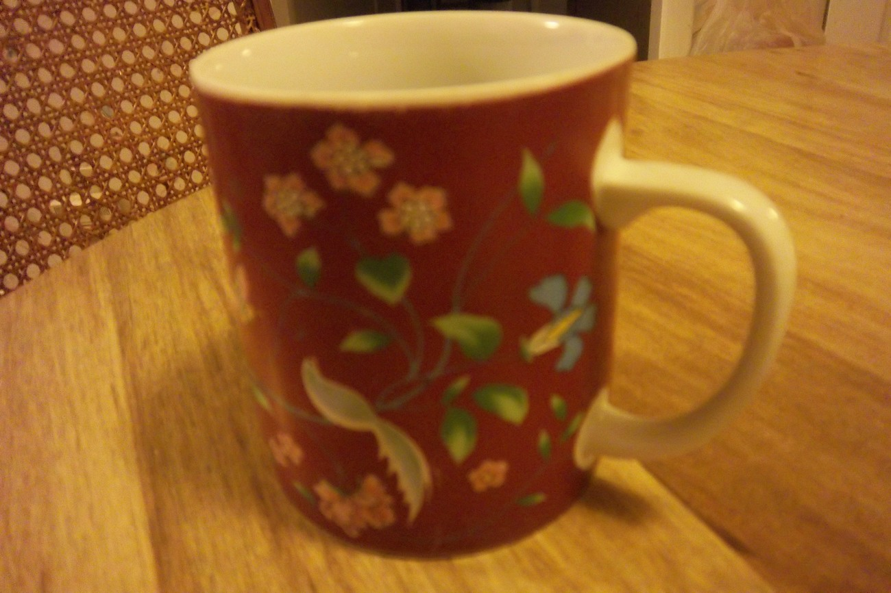Red Mug Flowers Vines Birds & Butterfly White Interior Cup Made in Japan Ceramic
