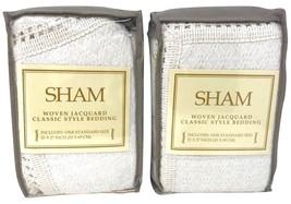"Set of 2 Lamont Woven Jacquard Standard Sham Ivory 21"" X 27"" - $59.99"
