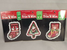 Trim N Wire Christmas Ornament Kits 3 Counted Cross Stitch Santa Bear Geese - $24.74