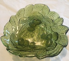 Vintage Indiana Glass Loganberry Raised Berries & Leaves Green Candy Dis... - $14.01