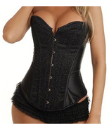 Sexy Black Sparkle Glitter Satin Corset NEW 977... - $31.99