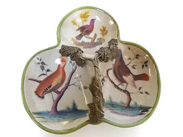 DECORATIVE FLORAL PORCELAIN & BRONZE RELISH CANDY DISH - $39.99