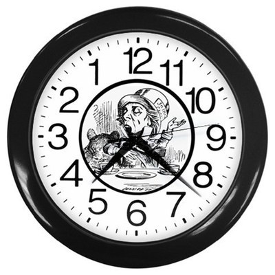 A Mad Tea Party Alice's Adwventures Backwards Wall Clock (Black) Gift 35665534