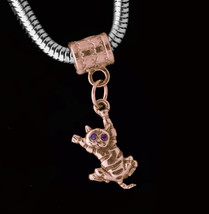 NICE European bead charm Rose Gold Pltd just hang in there baby kitten cat kitty - $26.42