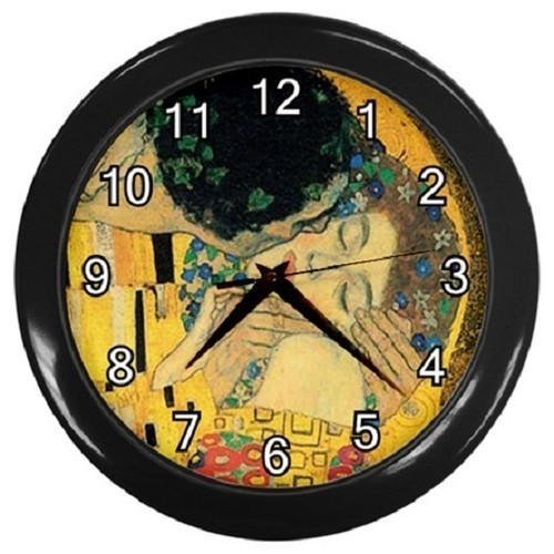 Gustav Klimt The Kiss Fragment  Decorative Wall Clock (Black) Giftl 30276129