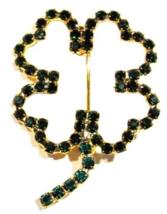 Clover Pin Brooch Four Leaf Crystal Green Irish Luck Prong Set Open Frame Design - $19.99