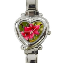 Ladies Heart Italian Charm Bracelet Watch Beauty Love Plumeria Gift 3833... - $11.99