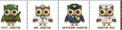 Hooties at Work mini collection cross stitch chart Pinoy Stitch