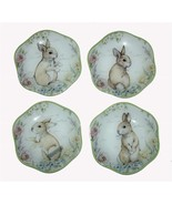 "4 Madison Studio Floral Bunnies 6.5"" Scalloped Curved Glass Plates NWT Cute - $24.99"