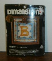 """Bear Block Dimensions Needlepoint Kit 5"""" x 5"""" Opened Complete - $14.50"""