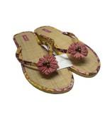 VERA BRADLEY Bali Gold Straw Sandal Sz L Flip Flops Pink Yellow NWT - $23.38