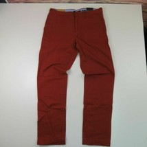 NWT Tommy Hilfiger Brick Red Flat Front Chinos Slim Fit Pants 34 x 34 - $54.45