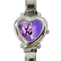 Ladies Heart Italian Charm Bracelet Watch Purple Butterfly Fly Gift 3833... - $11.99