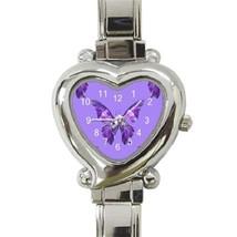 Ladies Heart Italian Charm Watch Purple Butterf... - $11.99