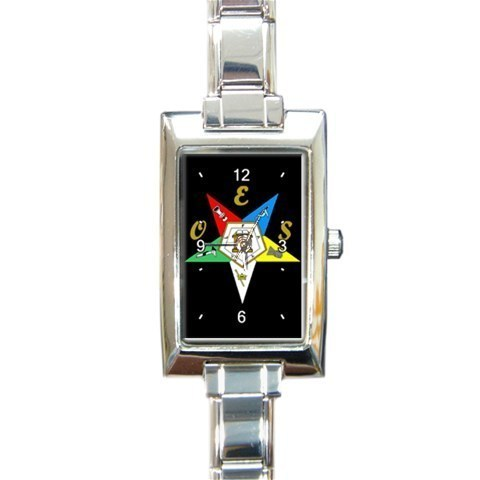 Ladies Rectangular Italian Charm Watch Order Of The Easter Star Black 32879173