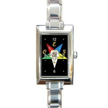 Ladies Rectangular Italian Charm Watch Order Of The Easter Star Black 32879173 - $11.99